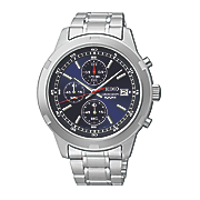 Seiko Mens Silvertone Blue Chrono Watch