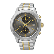 Seiko Mens Two Tone Black Chrono Watch