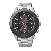 Seiko Mens Silvertone Black Chrono Watch
