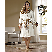 personalized robe with faux fur trim