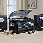 3 speed stereo turntable with cd  cassette and am fm radio by jensen