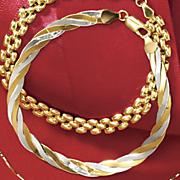 14k two tone herringbone bracelet