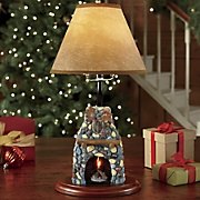 Moose Lodge Fireplace Lamp