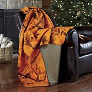 personalized blaze orange camo throw