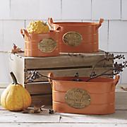 set of 3 pumpkin patch buckets