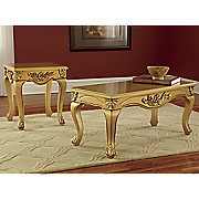 hand carved golden coffee table and end table
