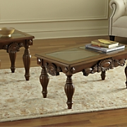 hand carved glass top coffee table