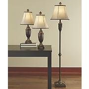Set of 3 Gold Trim Lamps