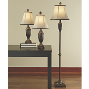 Set of 3 Gold Trim Lamps