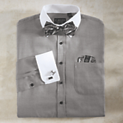 Shirt Bow Tie Handkerchief and Cufflinks Set