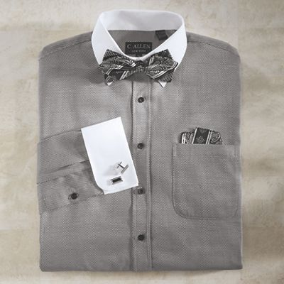 Shirt/Bow Tie/Handkerchief/Cufflinks Set