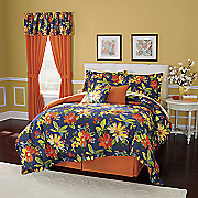Midnight Floral 7-Piece Bed Set, Panel Pair and Valance
