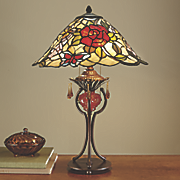 stained glass butterfly rose lamp