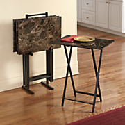 5 pc  faux marble tray tables
