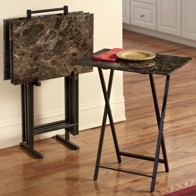5-Piece Faux Marble Tray Tables