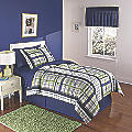 Navy Green/Plaid Complete Bed Set
