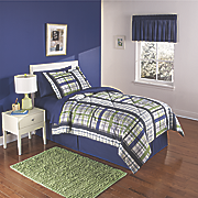 navy green plaid complete bed set and valance