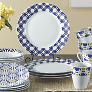 16 pc  blue capella dinnerware set by oneida