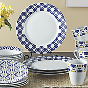 16 pc  blue capella dinnerware set by oneida