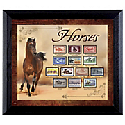 horse on stamp in wall frame
