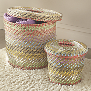 Set of 2 Seagrass Lidded Baskets