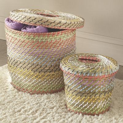 Set of 2 Seagrass Lidded Baskets