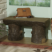 rough hewn log bench