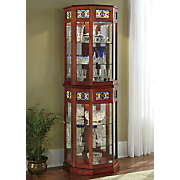 stained glass lighted curio cabinet