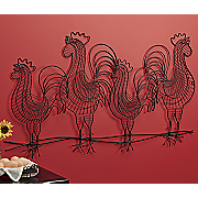 Wire Roosters 3-D Wall Art