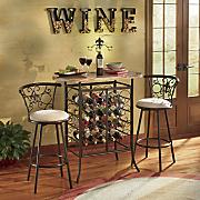 fleur de lis wine storage bistro table
