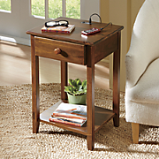 Pine End Table with USB Station