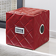 quilted audio storage ottoman