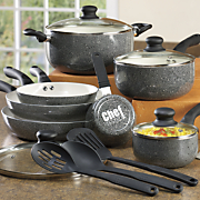 chef tested 14 pc  spattered aluminum cookware set by montgomery ward