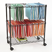 double tier rolling file cart
