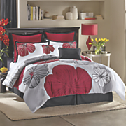 lila comforter set  pillows and window treatment
