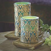 set of 2 led embossed candles