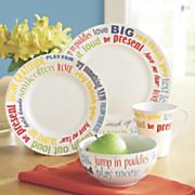 16 pc  follow your bliss dinnerware set