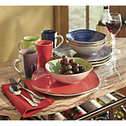 12 pc  color vibes square dinnerware set