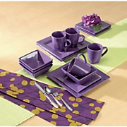 16 pc  solid square dinnerware set