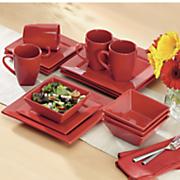 16 pc  solid square dinnerware set