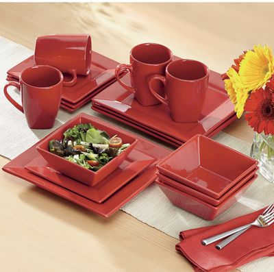 16-Piece Solid Square Dinnerware Set