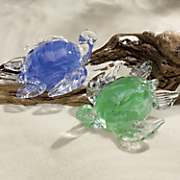 glowing glass sea turtle figurine
