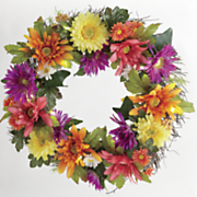 bright colors lit floral wreath