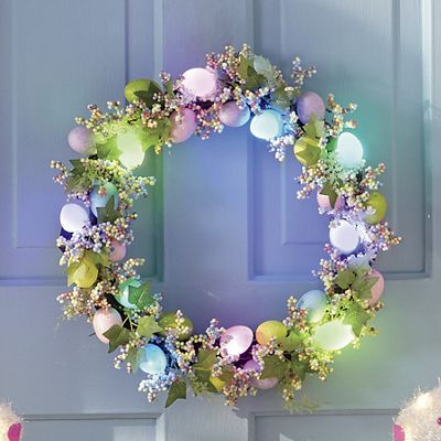 Lighted Easter Egg Wreath