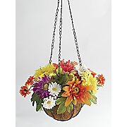 bright colors hanging lit basket
