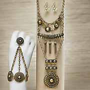 exotic medallion necklace and earring set