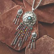 dreamcatcher necklace earring set