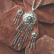 dreamcatcher necklace earring set