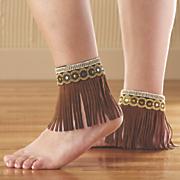 beaded fringe ankle wrap