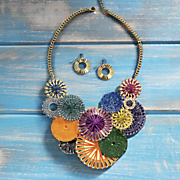 multicolor thread disc necklace and earring set